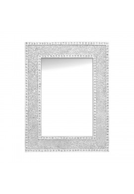 "DecorShore 24""x18"" Crackled Glass Framed Rectangular Decorative Mosaic Wall Mirror, Accent Mirror-Silver"