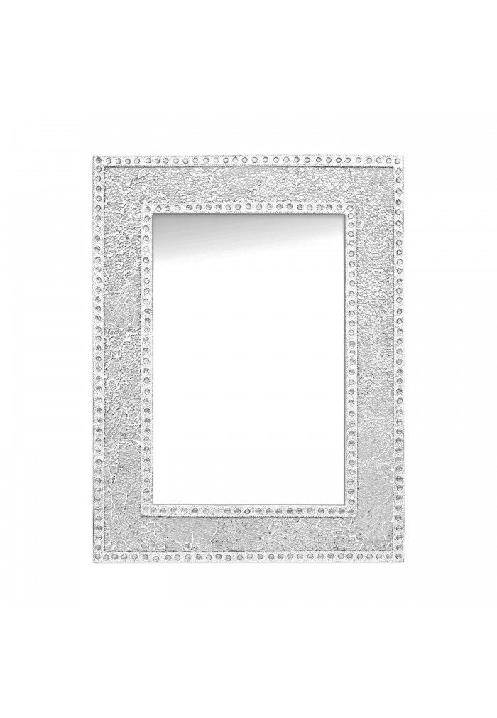 "DecorShore 24""x18"" Crackled Glass Framed Rectangular Decorative Mosaic Wall Accent Mirror-Silver"