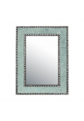 "DecorShore 24"" x 18"" Crackled Glass Framed Rectangular Decorative Mosaic Wall Mirror, Accent Mirror-Mint Green"