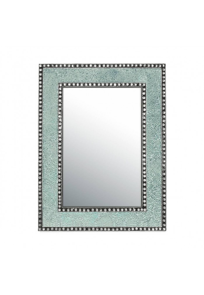 "DecorShore 24""x18"" Crackled Glass Framed Rectangular Decorative Mosaic Wall Mirror-Mint Green"