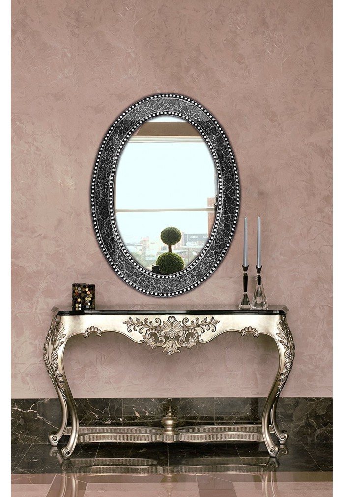 "32.5""x24.5"" Oval Frame, Crackled Glass Mosaic Decorative, Vanity Mirror in Jewel Tone Colors by DecorShore (Black / Gray)"