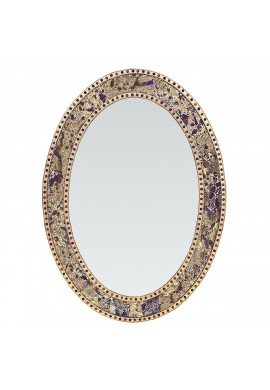 """32.5""""x24.5"""" Oval Frame, Colorful Crackled Glass Mosaic Decorative, Vanity Mirror in Jewel Tone Colors by DecorShore (Fired Gold)"""