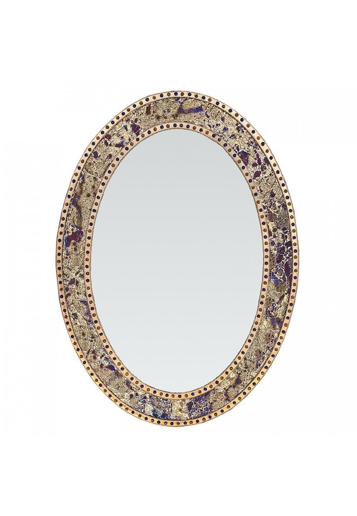 "32.5""x24.5"" Oval Frame, Colorful Crackled Glass Mosaic Decorative, Vanity Mirror in Jewel Tone Colors by DecorShore (Fired Gold)"