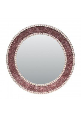 "DecorShore 24"" Rose Gold/Blush Round Handmade Crackled Glass Mosaic Tile Framed Decorative Accent Wall Mirror"