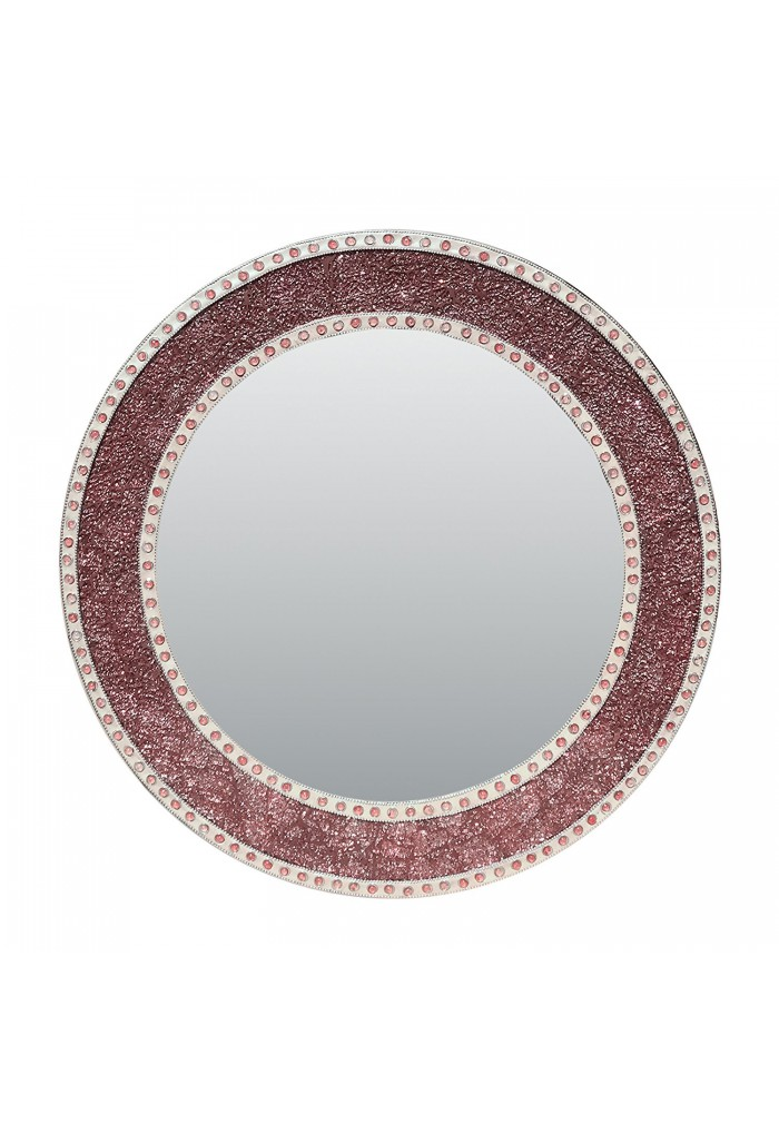 "aceb0a34130 24"" Rose Gold Blush Framed Round Crackled Glass Mosaic Decorative Accent Wall  Mirror ..."