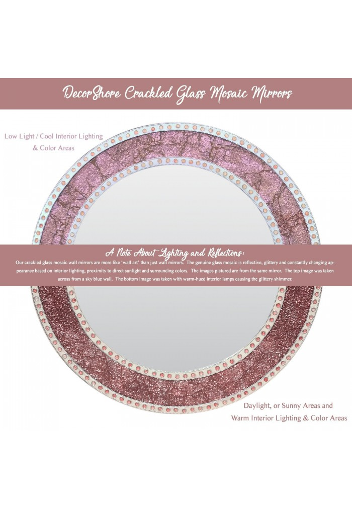 "24"" Rose Gold/Blush Framed Round Crackled Glass Mosaic Decorative Accent Wall Mirror"