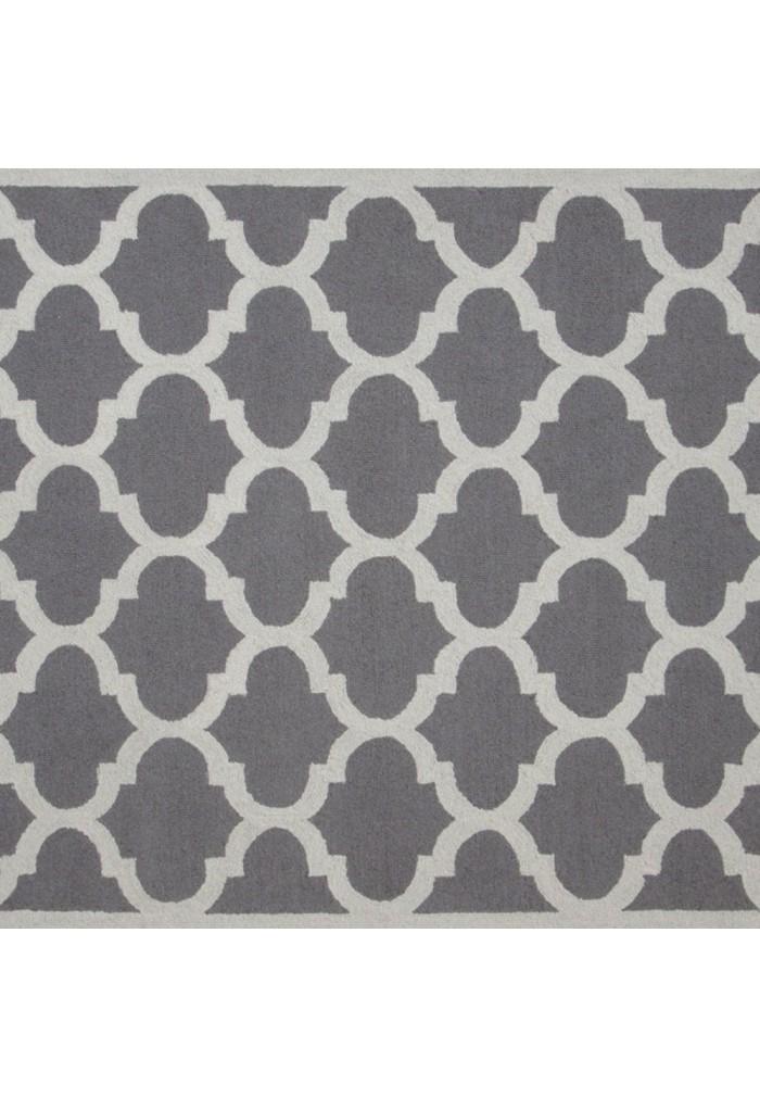 DecorShore Aroa Cupola Collection, Contemporary Area Rug, Hand Tufted, 100% Wool, Handmade Moroccan Trellis Design, Thick Plush Pile, Silver