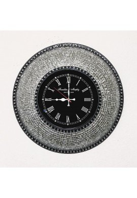 "DecorShore Decorative Mosaic Wall Clock, 22.5"" Silent Motion with Embossed Metallic Glass Mosaic - Silver w/ Black Clock Face"