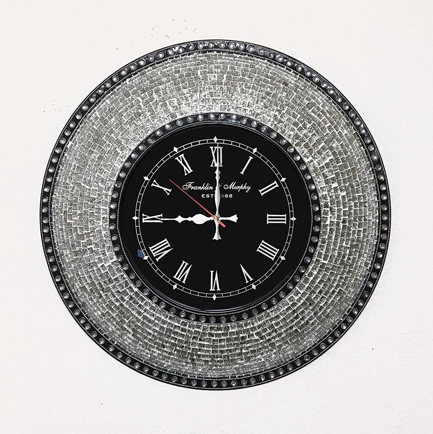 Shop area rugs wall mirror clock table vases online decorshore decorshore decorative mosaic wall clock 225 silent motion with embossed metallic glass mosaic reviewsmspy