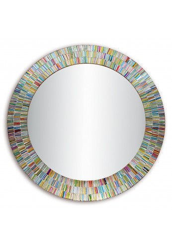 "Bohemian Rainbow Rhapsody Wall Mirror -Glass Mosaic Decorative Wall Mirror, Multi Color Spectrum Wall Mountable, 24"" Multi-Color Framed Mirror"