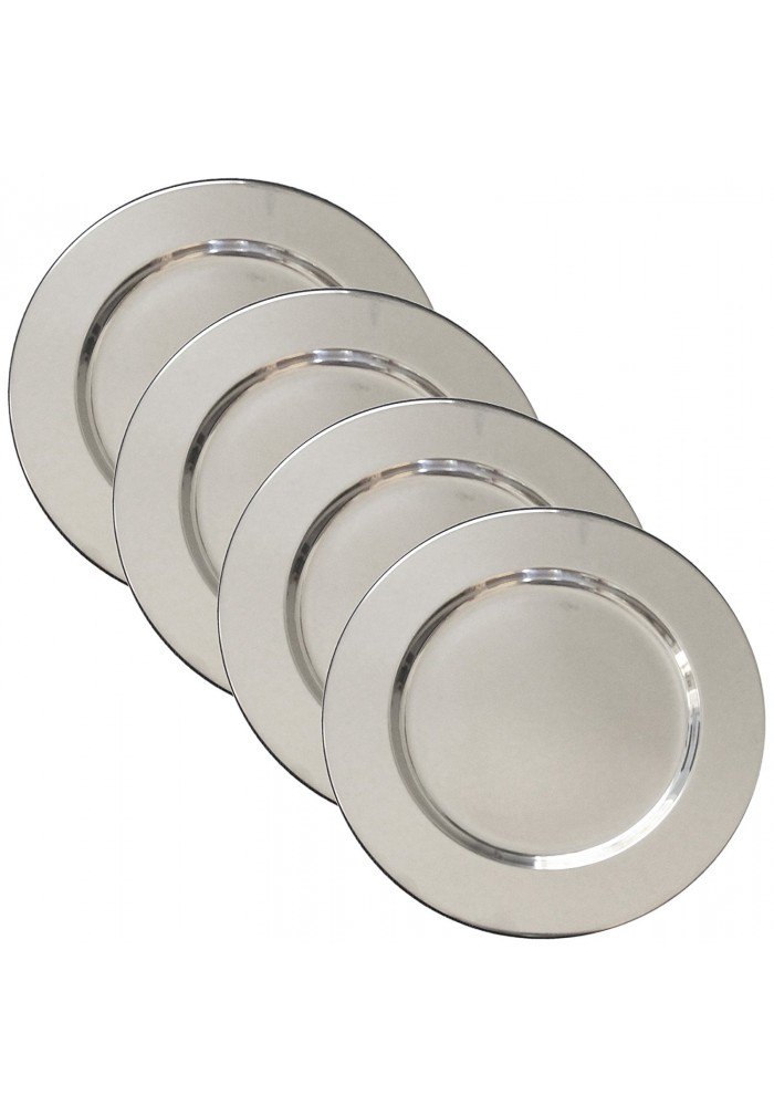 Set of 4 Stainless Steel Charger Plates - Handmade 12  Service Plates Accent Plates Decorative u0026 Hors ...  sc 1 st  Decorshore & Set of 4 Stainless Steel Charger Plates - Handmade 12
