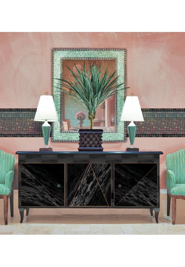 Mint Green Crackled Glass Decorative Wall Mirror