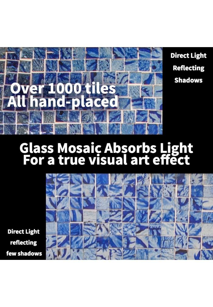 Glass Mosaic Framed Decorative Wall Mirror (Lapis Blue)