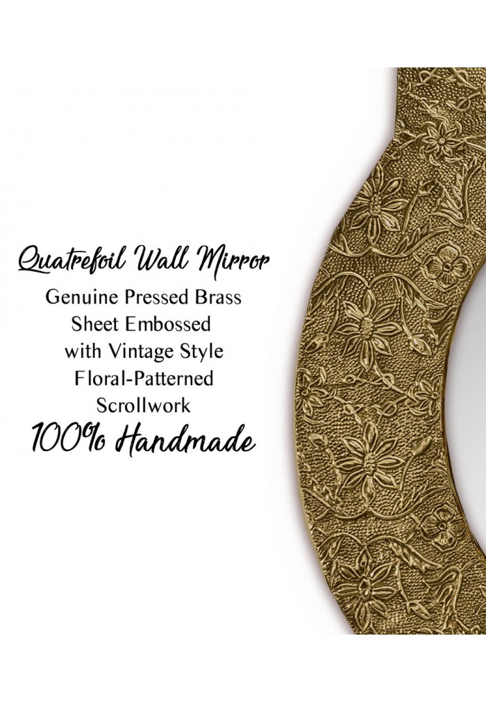 DecorShore Frontiers Collection Décor Accents - Santa Catalina, Brass Quatrefoil Wall Mirror