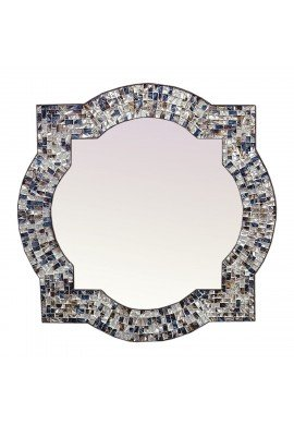 "Andalusian Quatrefoil Mirror, Lindaraja Designer Mosaic Glass Framed Wall Mirror, 24""x24"" Colorful Wall Mirror (Multi Silver)"