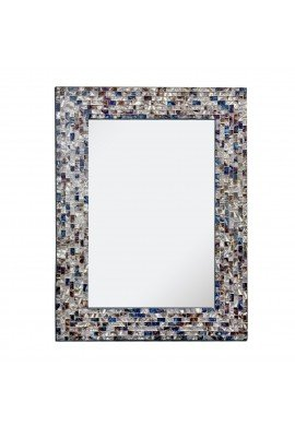 "Multi-Colored & Silver, Luxe Mosaic Glass Framed Decorative Mosaic Rectangular Wall Mirror, (18""x24"")"
