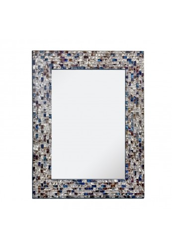 "Multi-Colored and Silver 18""x24"" Luxe Embossed Mosaic Glass Tile Framed Handmade Decorative Mosaic Rectangular Vanity/Accent Wall Mirror"