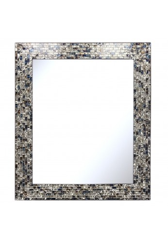 "Multi-Colored and Silver 30"" X 24"" Luxe Mosaic Glass Framed Wall Mirror, Handmade Decorative Embossed Rectangular Vanity/Accent Mirror"