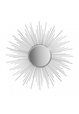 "Decorshore 36"" Silver Sunburst Circular Mirror, Metal Mirror, Decorative Wall Mirror"