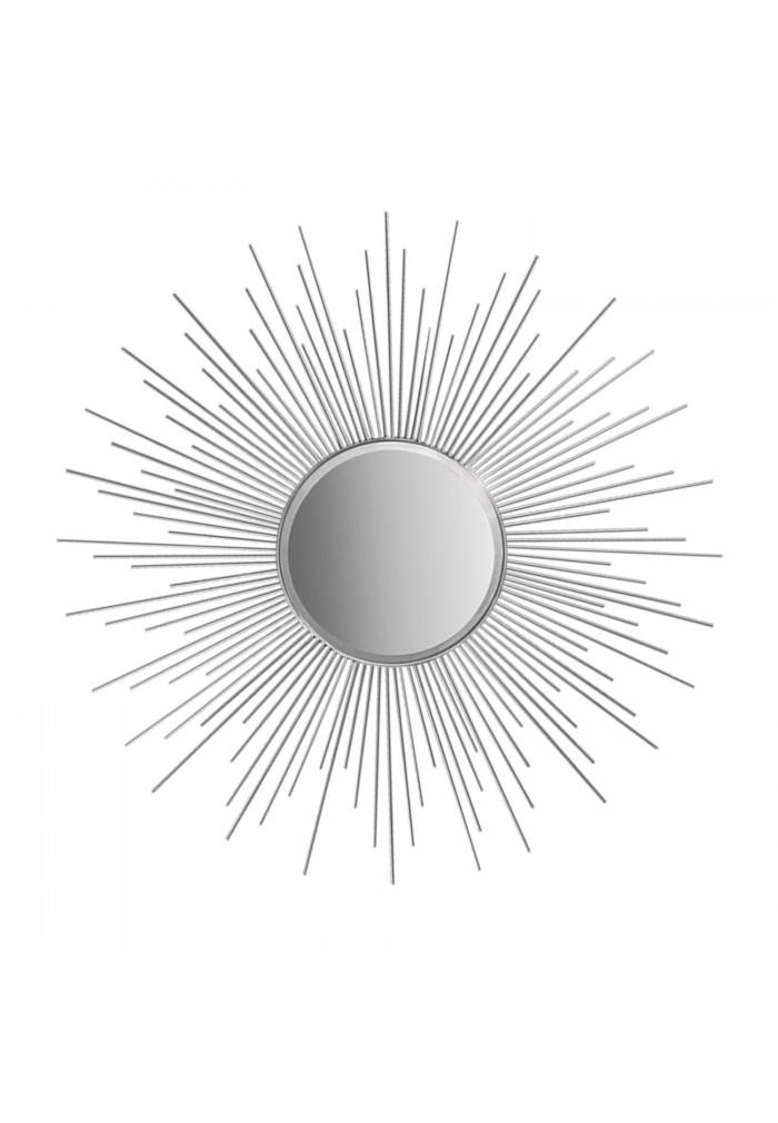 Decors 36 Silver Sunburst Circular Mirror Metal Decorative Wall