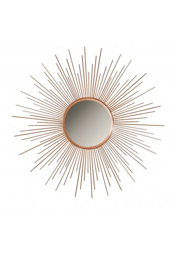 36 inch Copper Sunburst Circular Metal Wall Mirror, Decorative Round Wall Mirror, Classic Retro Decor by Decorshore