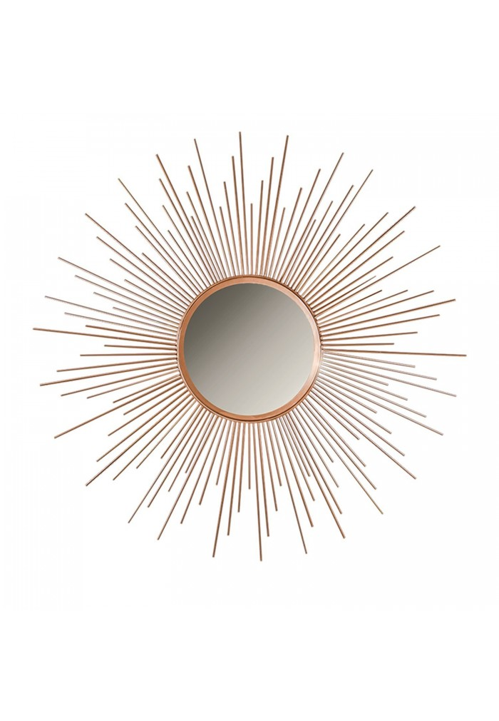"Decorshore 36"" Copper Sunburst Circular , Metal Mirror, Wall Mirror, Decorative Wall Mirror"