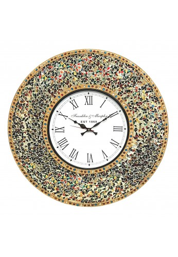 "DecorShore 23"" Decorative, Silent Clock with Decorative Glass Mosaic, Oversized Wall Clock (Gemstone Rainbow - Gold, Ruby, Sapphire, Citrine & Emerald Look Multi Color)"