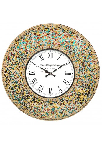 """DecorShore 23"""" Decorative Glass Mosaic Oversized Silent Wall Clock (Retro Rainbow - Turquoise, Ruby Red & Goldenrod Multi Color)"""