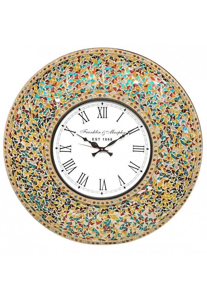 DecorShore 23 Inch Decorative with Decorative Glass Mosaic Wall Clock