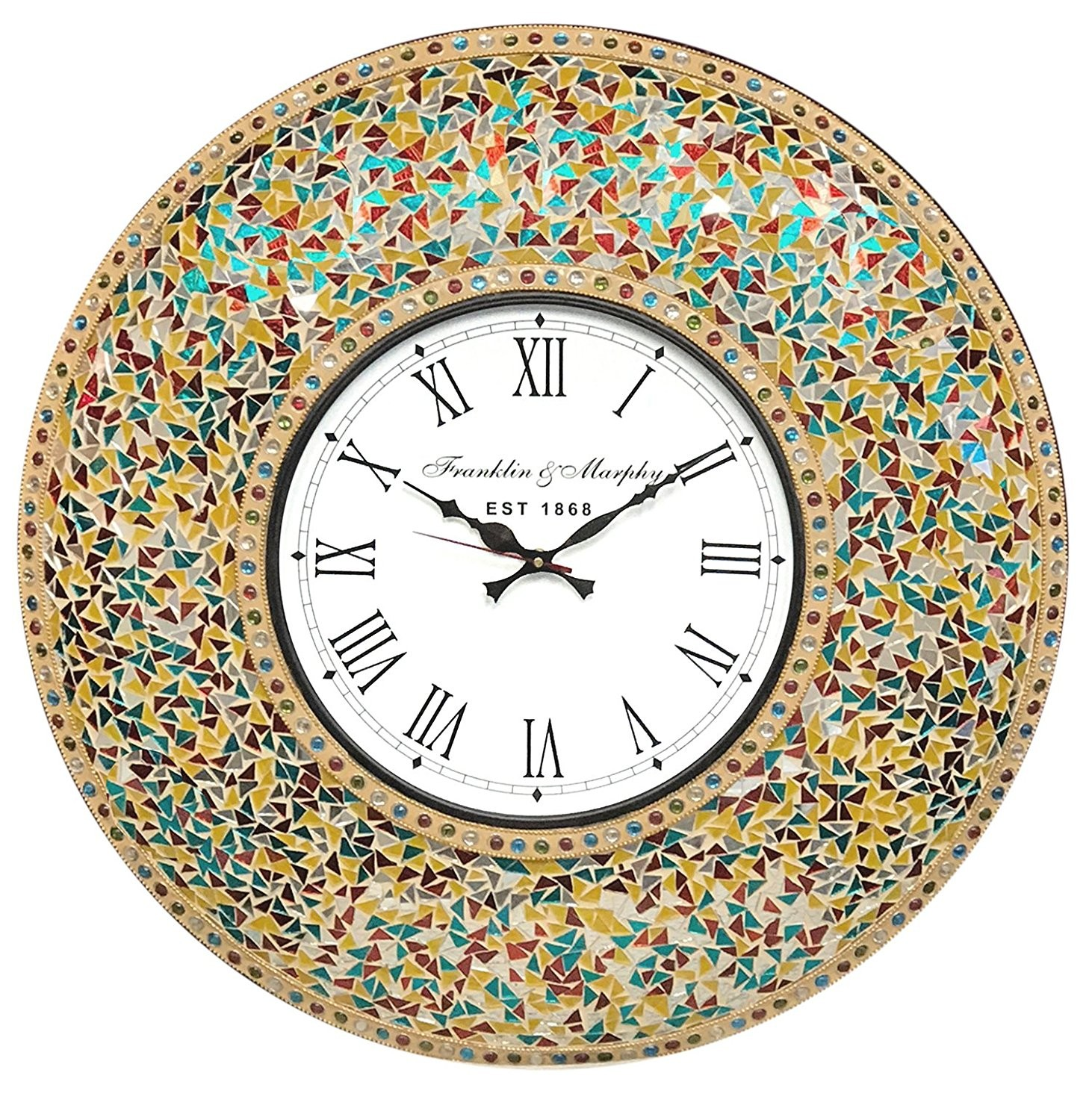 Decorshore 23 decorative wall clock with glass mosaic oversized decorshore 23 decorative wall clock with glass mosaic oversized retro rainbow amipublicfo Images