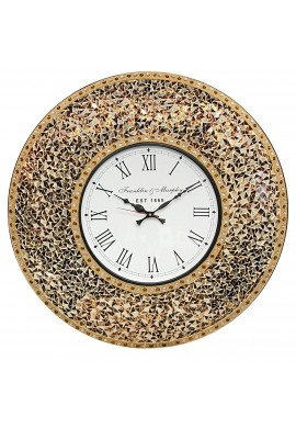 "DecorShore 23"" Decorative Wall Clock, Silent Clock with Decorative Glass Mosaic, Oversized Wall Clock (Name) (Golden Sands - Gold, Citrine & Chocolate Opal Look)"