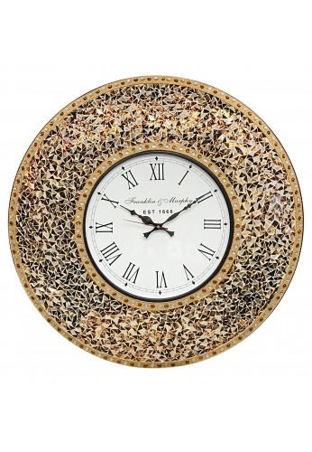 DecorShore 23 Inch Decorative Glass Mosaic Silent Oversized Wall Clock (Golden Sands - Gold, Citrine & Chocolate Opal Look)