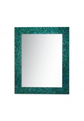 Glass Mosaic Framed Decorative Wall Mirror (Green Blue Slate)