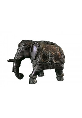 Asian Elephant Black Green Patina Metal Statue, Handcrafted Decorative Animal Sculpture Tabletop Decor