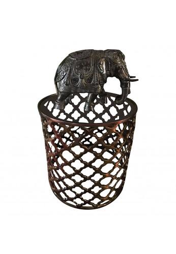 Asian Elephant Black Green Patina Metal Statue