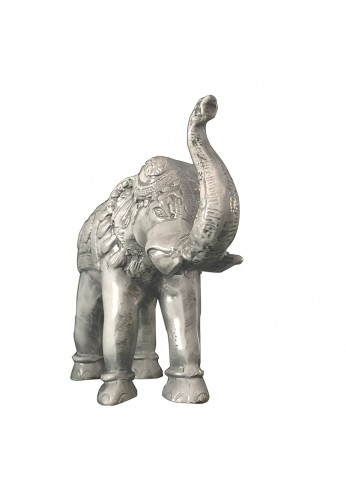 Asian Elephant Antique Ivory Patina Metal Statue, Handcrafted Decorative Animal Sculpture Tabletop Décor