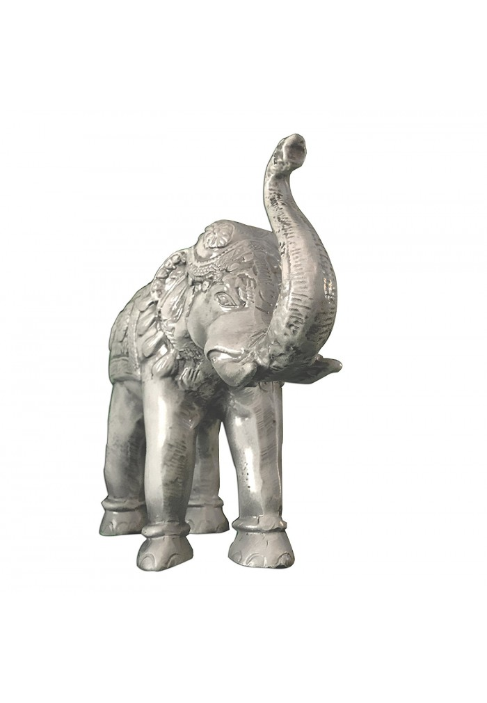 Handcrafted decorative animal sculpture tabletop décor asian elephant antique ivory patina metal statue