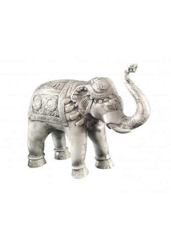 Asian Elephant Antique Ivory Patina Metal Statue
