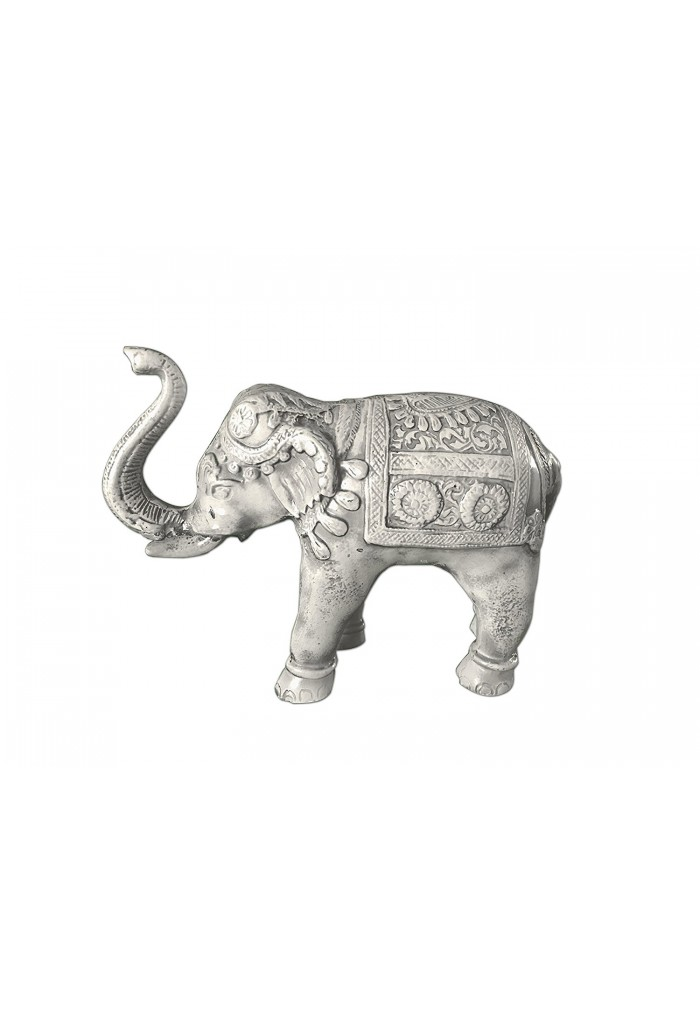 Asian Elephant Antique Ivory Patina Metal Statue