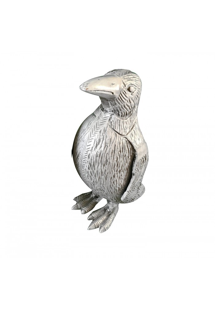 Penguin Metal Statuette, Handcrafted Decorative Animal Sculpture