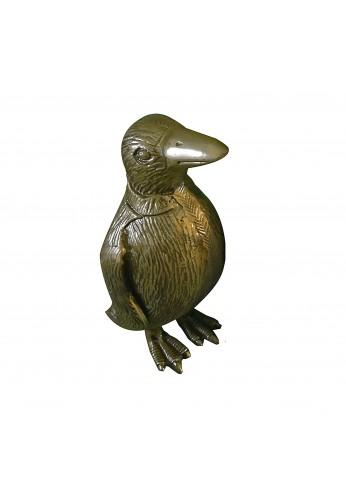 Penguin Metal Statuette, Handcrafted Decorative Animal Sculpture (Brass)