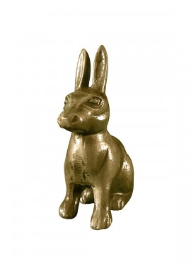 Hare / Jack Rabbit Metal Statuette, Handcrafted Decorative Animal Sculpture, Aluminum Decorative Statue (Brass)