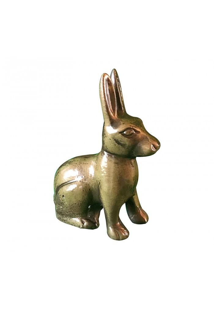 Hare / Jack Rabbit Metal Statuette, Handcrafted Decorative Animal Sculpture (Brass)