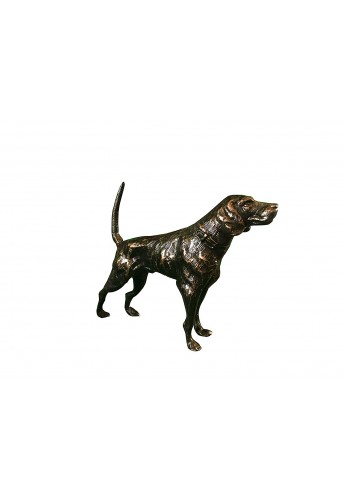 Hound Dog Metal Statuette, Handcrafted Decorative Animal Sculpture, Aluminum Decorative Statue (Oil-Rubbed Bronze)