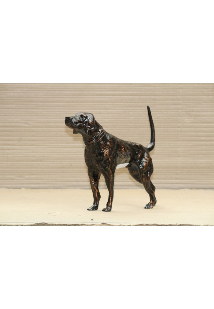 Hound Dog Metal Statuette, Handcrafted Decorative Animal Sculpture (Oil-Rubbed Bronze)