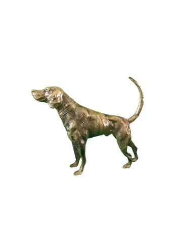 Hound Dog Metal Statuette, Handcrafted Decorative Animal Sculpture, Aluminum Decorative Statue (Polished Brass)