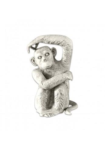 Chimpanzee / Monkey Metal Statuette, Handcrafted Decorative Animal Sculpture, Aluminum Decorative Statue, Tabletop Decor - Study Room, Décorating Figurine, House Warming Gift