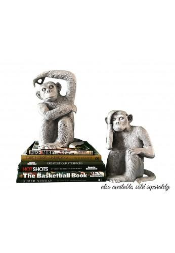 Chimpanzee / Monkey Metal Statuette, Handcrafted Decorative Animal Sculpture
