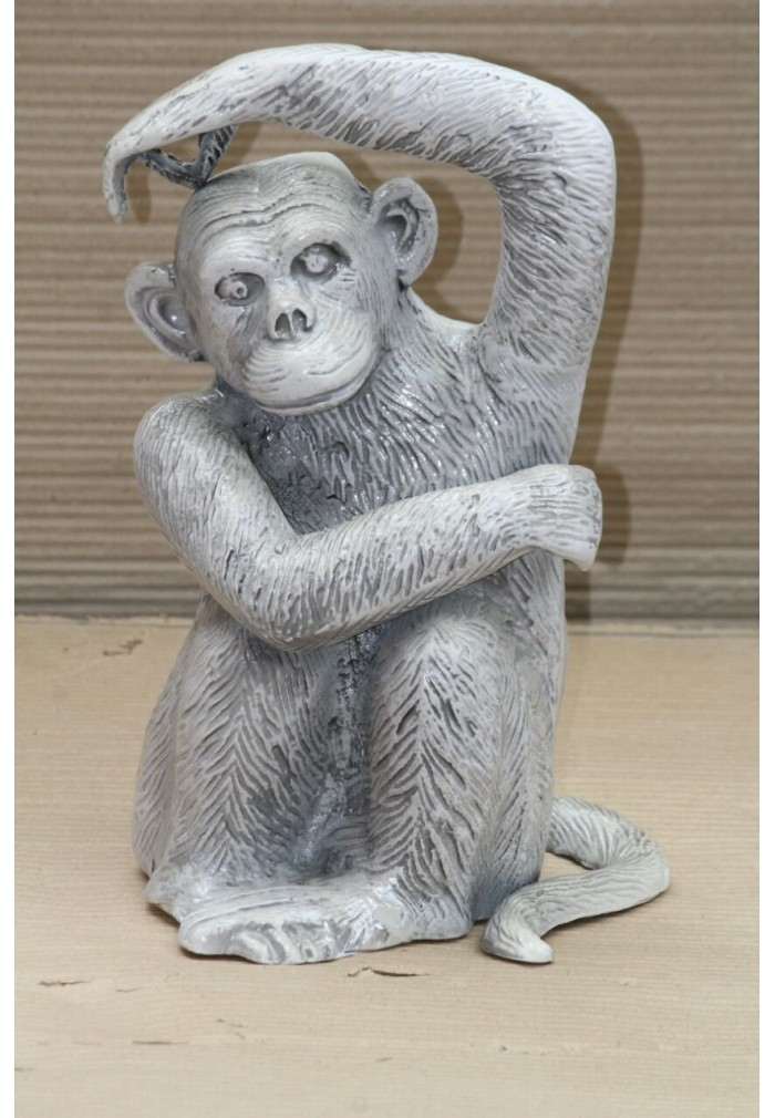 Chimpanzee Monkey Metal Statuette Handcrafted