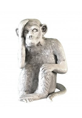 Chimpanzee / Monkey Metal Statuette, Handcrafted Decorative Animal Sculpture